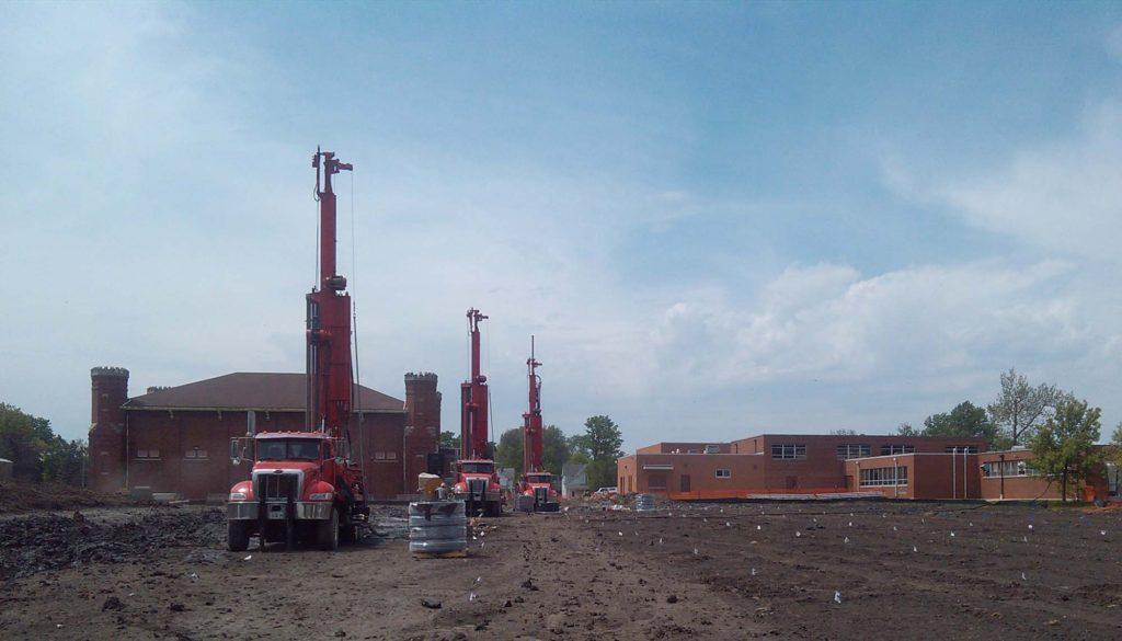 trucks creating geothermal wells